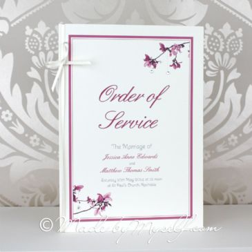 Blossom Order of Service - 4 Page Insert with Ribbon